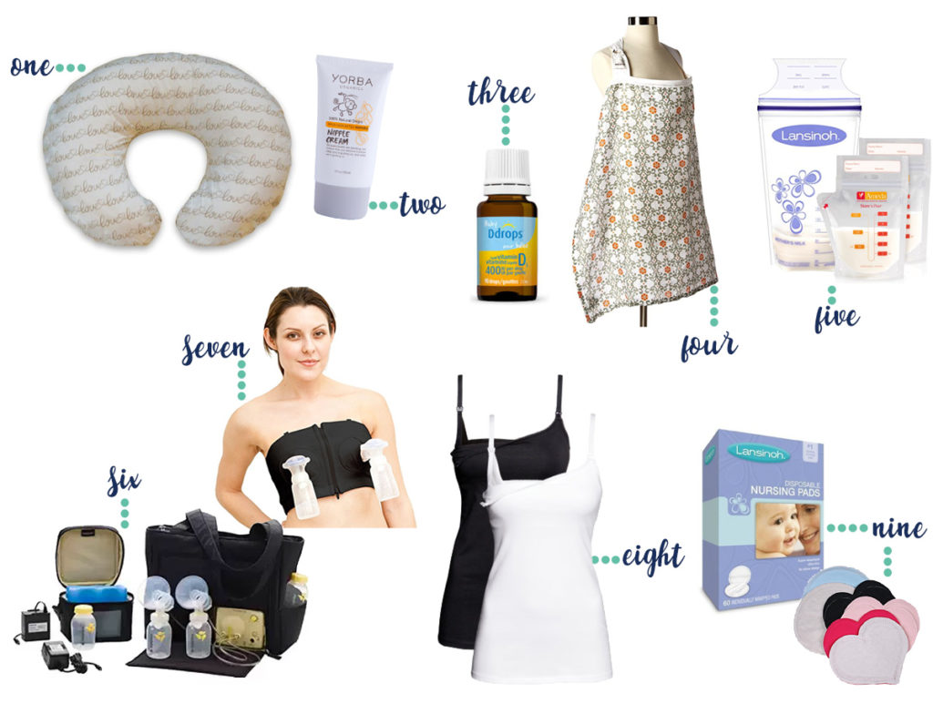 breastfeeding essentials: everything you need for breastfeeding - nursing pillow, nipple cream, vitamin d drops, nursing cover, milk storage bags, breast pump, hands-free pump bra, nursing tanks, nursing pads