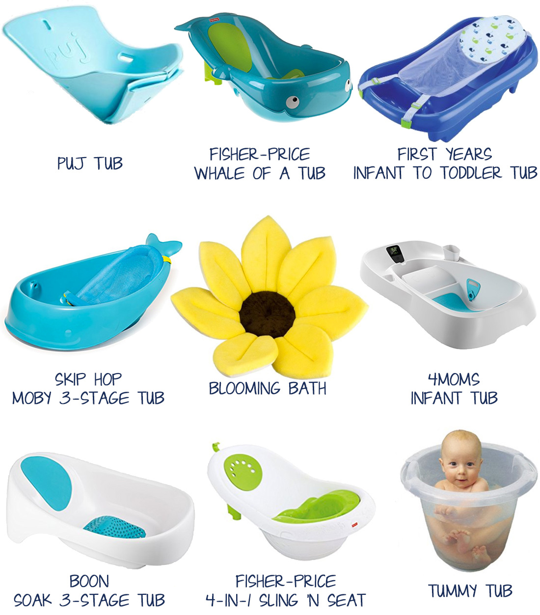 Best Infant Baby Bath Tubs (Puj Tub, Fisher-Price Whale of a Tub, First Years Infant to Toddler Tub, Skip Hop Moby 3-Stage Tub, Blooming Bath, 4Moms Infant Tub, Boon Soak 3-Stage Tub, Fisher-Price 4-in-1 Sling N Seat, Tummy Tub) ~Whining With Wine~