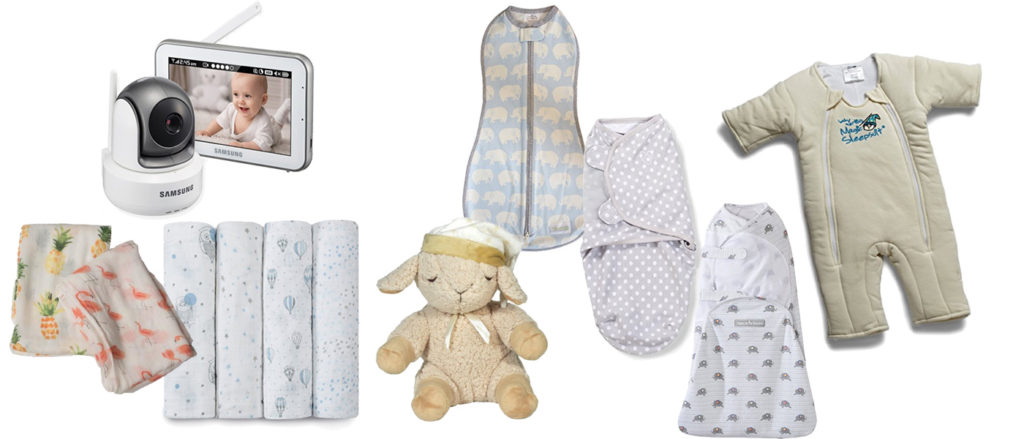 baby registry sleep stuff: blankets, sleep sacks, swaddles, monitors, white noise machines, etc