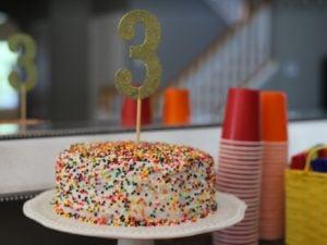 Rainbow birthday party theme ~ rainbow sprinkle birthday cake