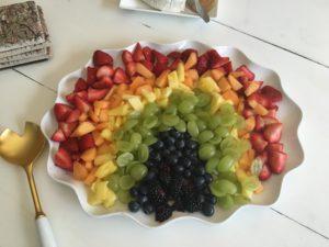 Rainbow birthday party theme ~ rainbow fruit platter